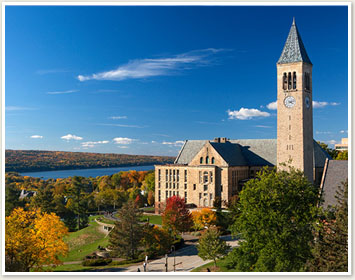 McGraw Tower, Uris Library and Cayuga Lake in the fall