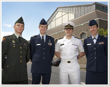 Four ROTC officers in uniforms
